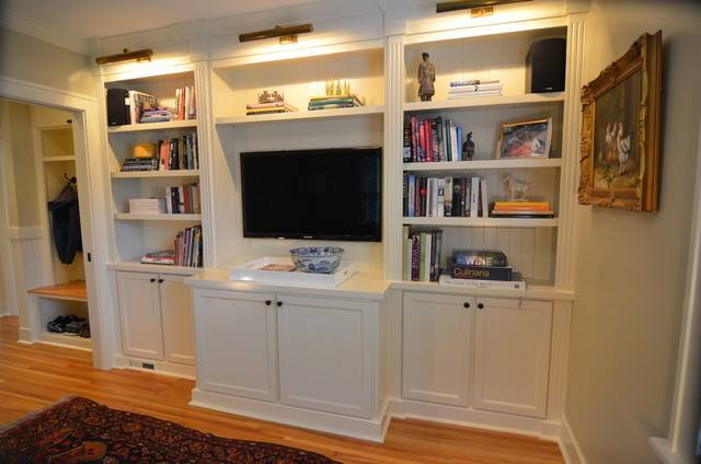 Built Bookcases Traditional Living Room Portland