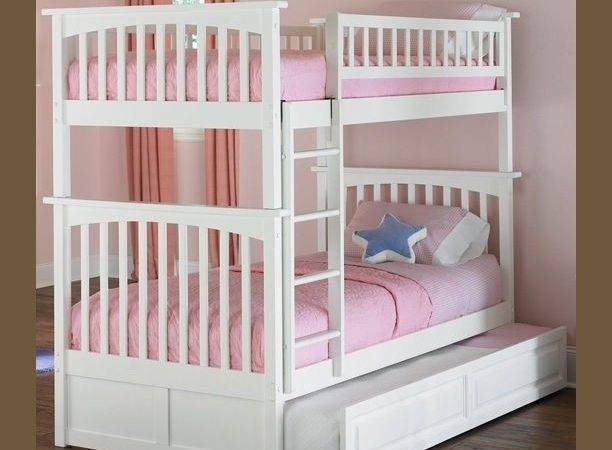 Bunk Beds Kids Twin Over White Girls