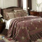 Burgundy Brown Plaid Rustic Lodge Log Cabin Country Home