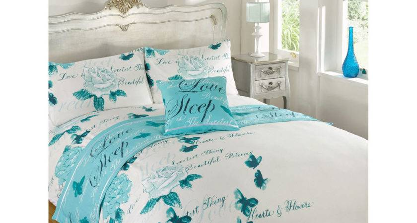 Butterfly Rose Complete Bed Bag Set White Teal Blue