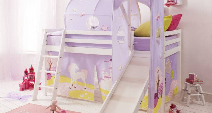 Cabin Bed Mid Sleeper Pine Kids Slide Princess