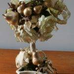 Caffco White Gold Fruit Silk Rose Topiary Centerpiece Ebay