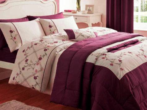 Caitlyn Cream Floral Red Plum Leaf Embroidered Duvet Quilt