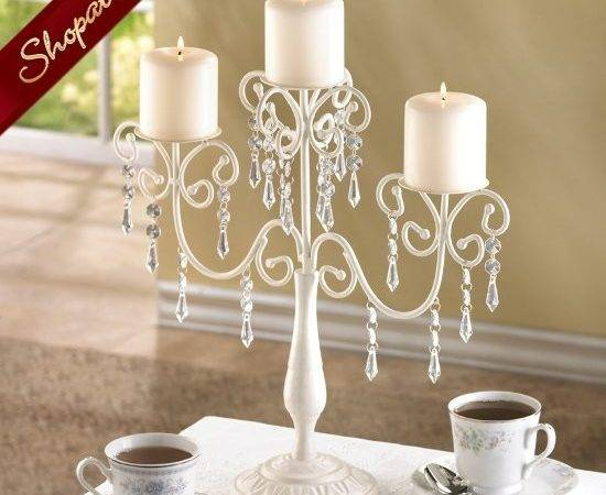 Candelabra Ivory Crystal Bead Candle Holder Table