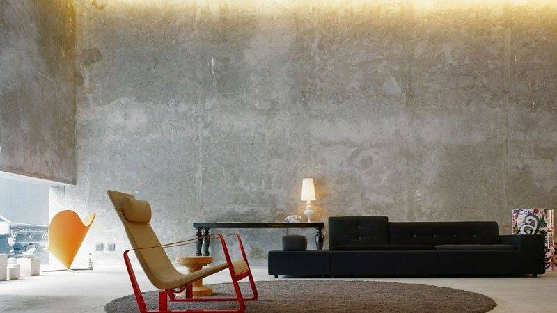 Captivating Living Room Designs Concrete Wall