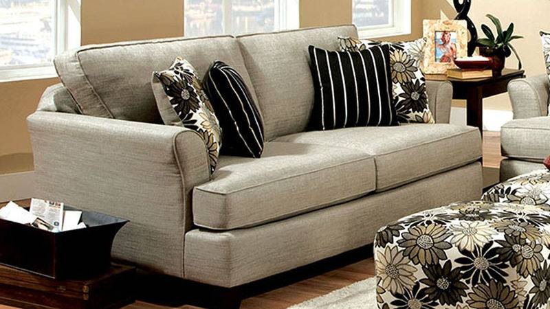 Cardiff Contemporary Light Gray Floral Fabric Living