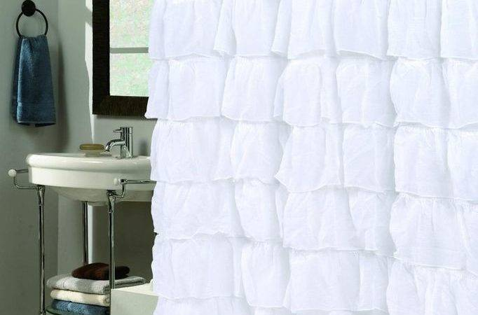 Carmen Ruffled Fabric Shower Curtain Crushed Voile