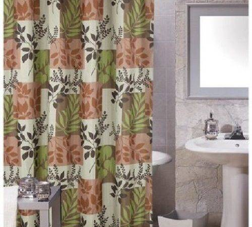 Carnation Laura Shower Curtain Earth Tones Brown Green