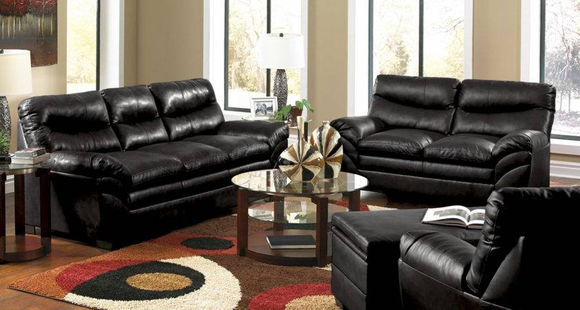 Casual Contemporary Black Bonded Leather Sofa Set Living