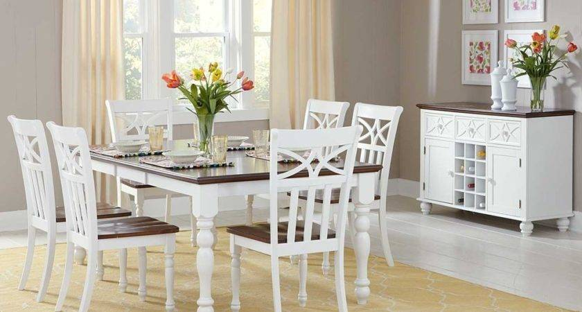 Casual Cottage Style White Dining Table Chairs