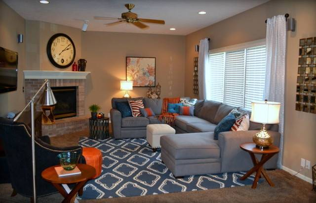 Casual Orange Blue Gray Room Traditional