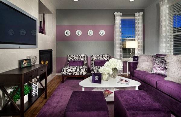 Catchy Living Room Designs Purple Accent Home