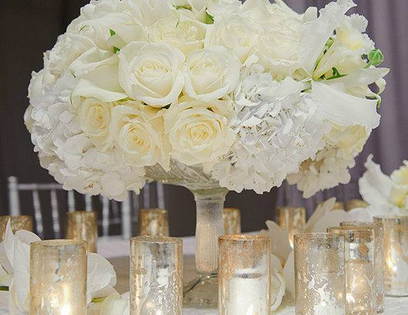 Centerpieces White Wedding Reception Prestonbailey