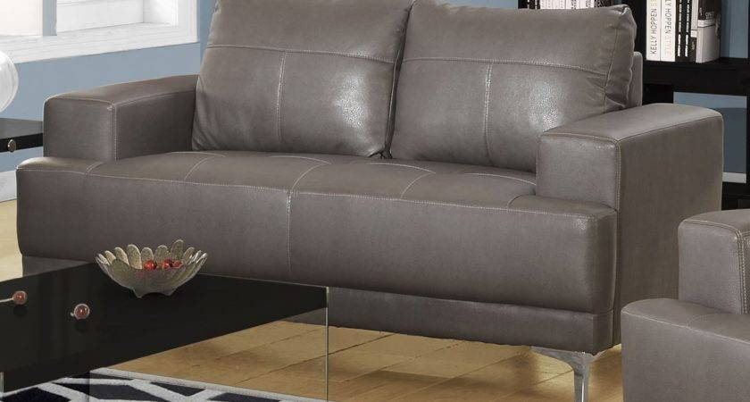 Charcoal Gray Bonded Leather Living Room Set