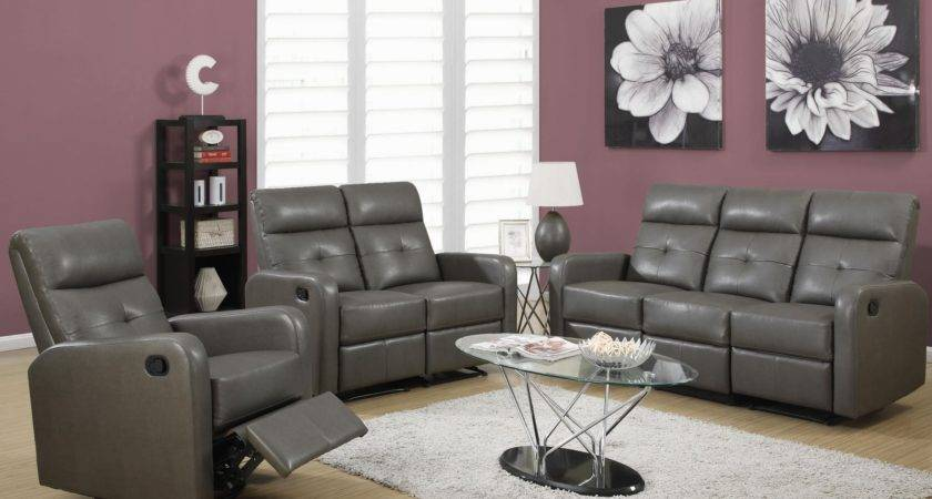 Charcoal Gray Bonded Leather Reclining Living Room