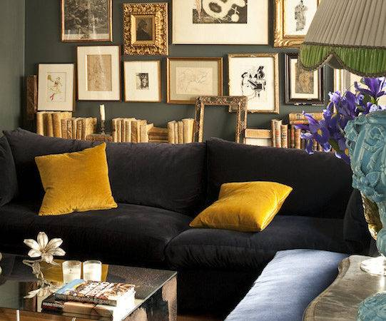 Charcoal Gray Sectional Yellow Pillow Contemporary