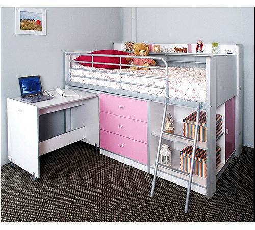 Charleston Storage Loft Bed Desk White Pink Carton
