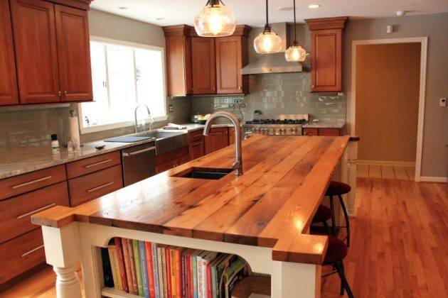 Charming Kitchen Countertop Designs Made Reclaimed Wood