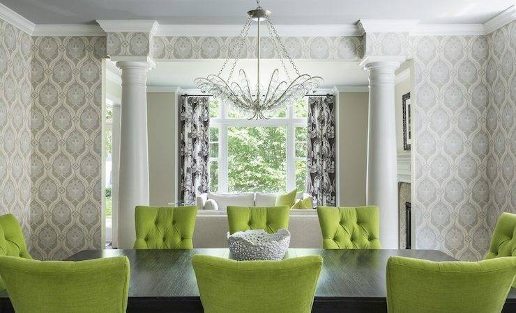 Chartreuse Chairs Contemporary Dining Room Interiors