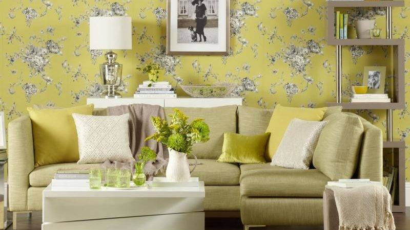 Chartreuse Living Room Floral