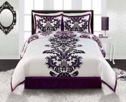 Cheap Royal Purple White Black Damask Comforter Sham
