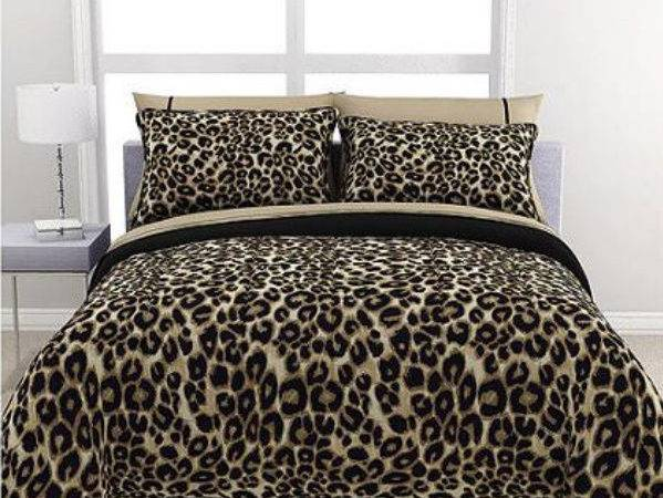 Cheetah Animal Print Brown Cream Reversible Piece