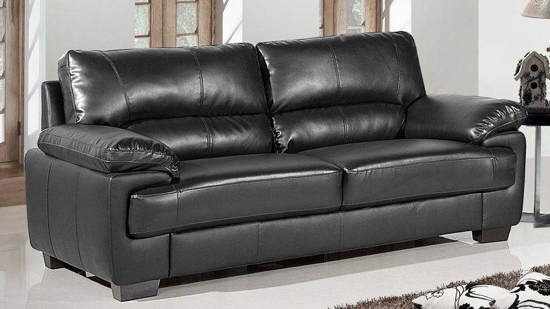 Chelsea Black Leather Sofa Collection