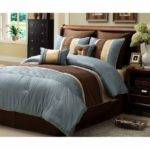 Chic Blue Brown Striped Design Comforter Set King Ebay