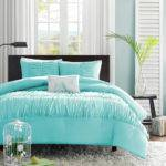 Chic Teal Blue Ruffled Ruched Girls Comforter Set Pillow