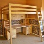 Children Student Sized Loft Bed Desk System
