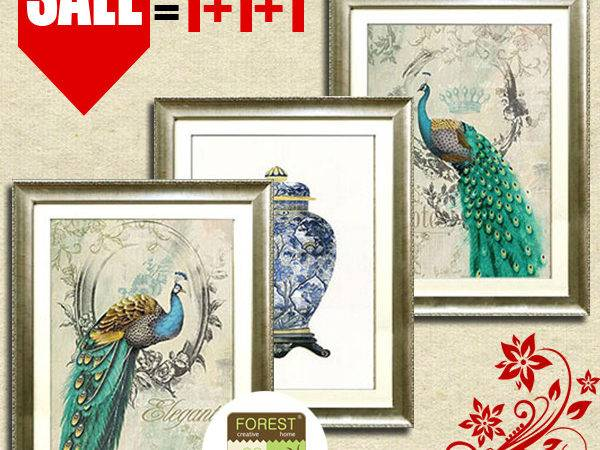 Chinese Home Decor Painting Art Classic Peacock Blue