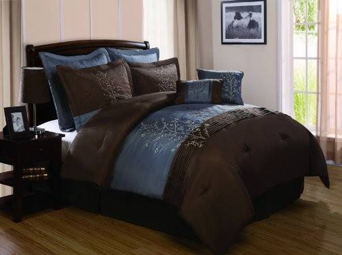 Chocolate Brown Blue Bedding Sets