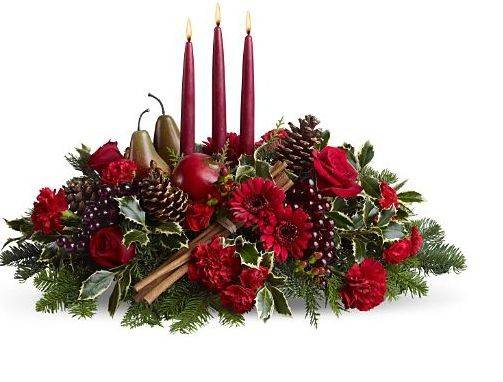 Christmas Arrangement Fruits Red Candle