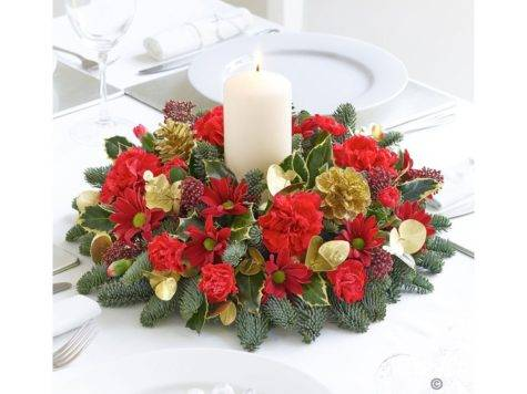 Christmas Candle Table Arrangement Flower Box