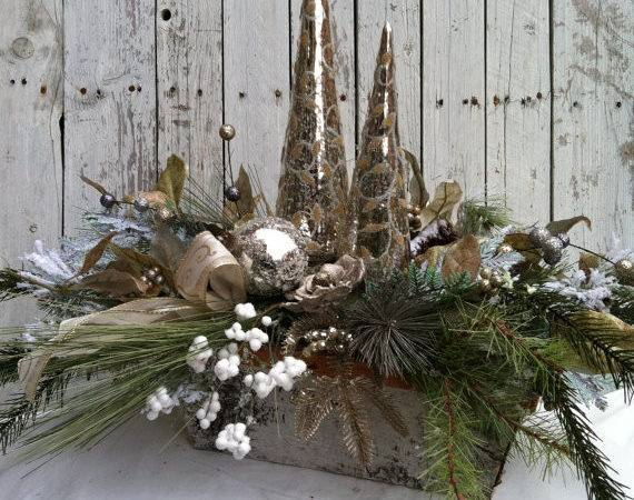 Christmas Centerpiece Elegant Silver Table