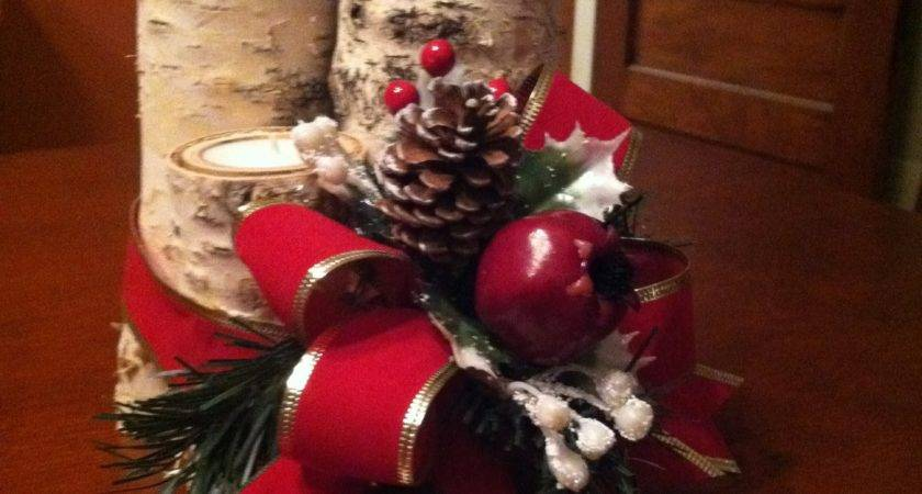Christmas Centerpiece Making Birch Logs Votive