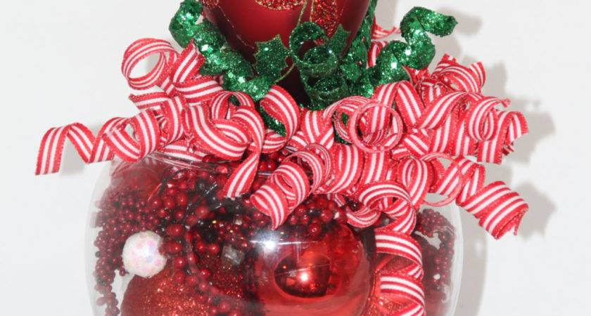 Christmas Centerpiece Red Green Holiday Home Decor