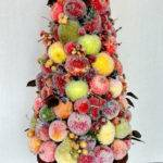 Christmas Centerpiece Sugared Fruit Topiary Holiday Decoration