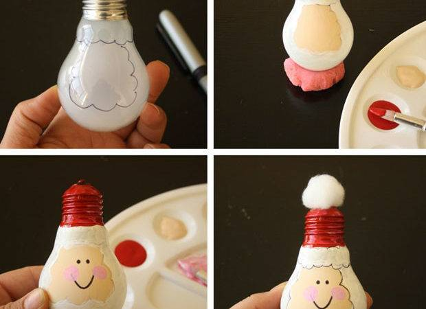 Christmas Craft Kids Upcycled Light Bulb Santas