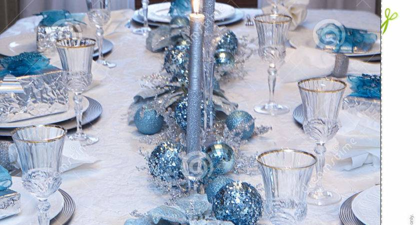 Christmas Holiday Table Setting Blue White