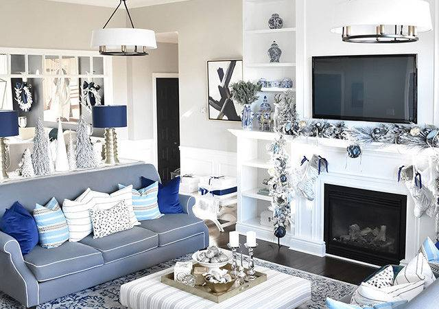 Christmas Home Tour Living Room Blue White Gold