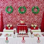 Christmas Party Decorations Tables Photograph White
