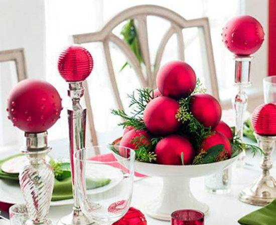 Christmas Table Ideas Decorating Red Green