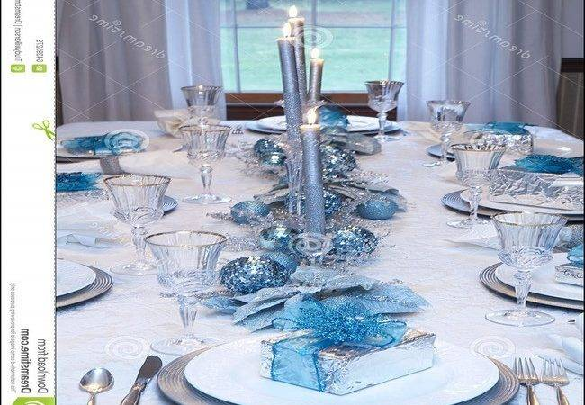 Christmas Table Setting Blue Silver Home