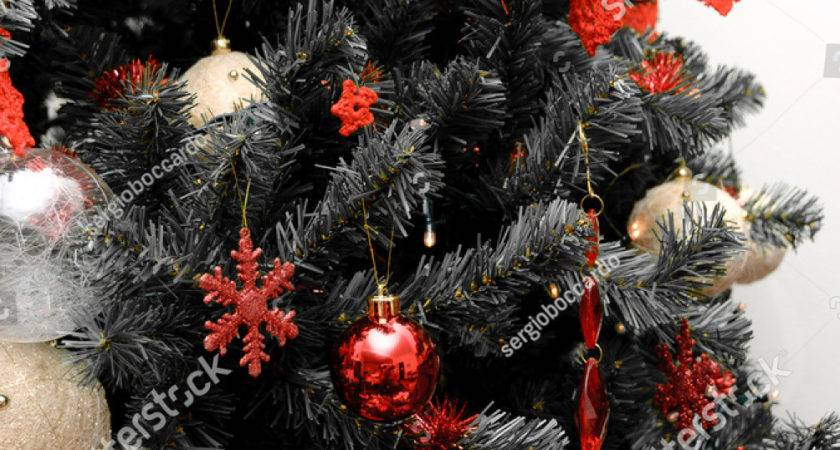 Christmas Tree Black White Red Decorations
