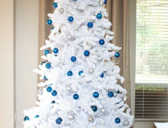 Christmas Tree Decorations Blue Silver White All