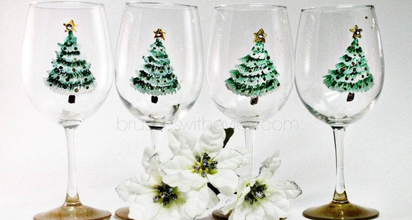 Christmas Wine Glasses Set Hand Painted