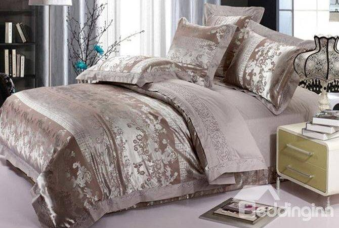 Cities Style Silver Gray Piece Embroidery Satin Bedding