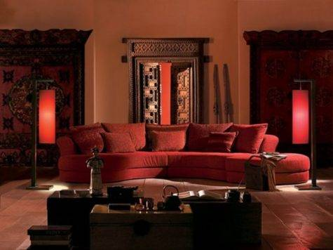 Classic Indian Living Space Red Sofa Unique Coffee