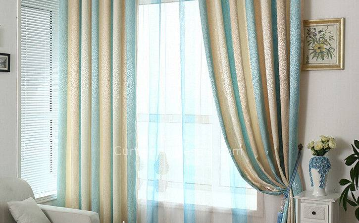 Classic Striped Curtain Beige Blue Color Poly